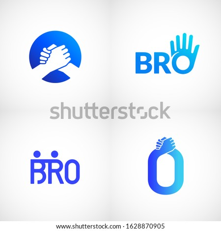 Informal Greeting Handshake Abstract Vector Sign, Emblem or Logo Templates Bundle. Brotherhood or Team Lettering Icon. Friendly High Five Palm Hand with O Letter Incorporated. Isolated.