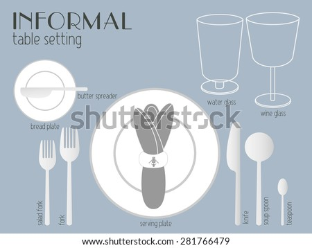 INFORMAL TABLE SETTING white and clear tableware and eating utensils are set at the table for & Dinner Table Setting - Download Free Vector Art Stock Graphics u0026 Images