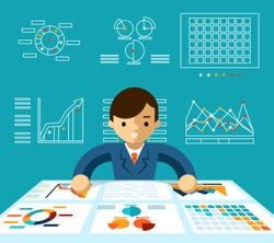 Information analysis. Monitoring economy, manager and progress and productive, vector illustration