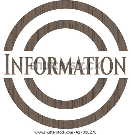 Information badge with wooden background