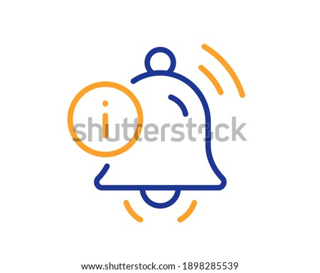 Information bell line icon. Alarm reminder info sign. Notification message symbol. Quality design element. Line style information bell icon. Editable stroke. Vector