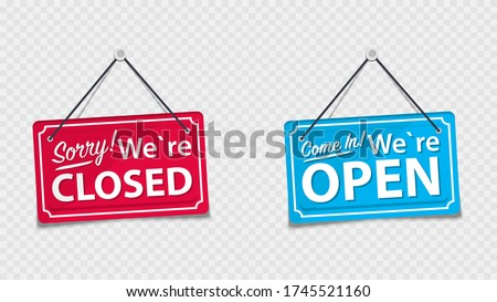 Information boards with the inscription, Come in we're open and Sorry, We are closed. White signboard with a rope on background. Business concept for closed and open businesses, sites and services Stockfoto ©