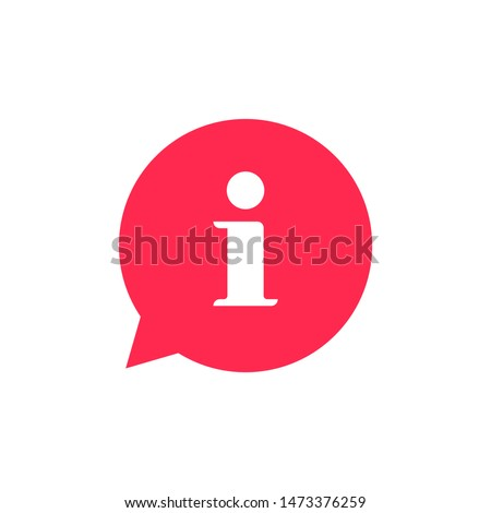 Information bubble speech notice vector icon, flat info help sign mark isolated