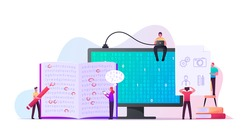 Information Coding Concept. Tiny Male and Female Characters at Huge Computer Monitor with Binary Code, People Marking Letters in Book Text to Encrypt Data, Espionage. Cartoon Vector Illustration