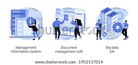 Information collection and analysis abstract concept vector illustration set. Management information system, document management soft, big data job, sharing online, visualization abstract metaphor.