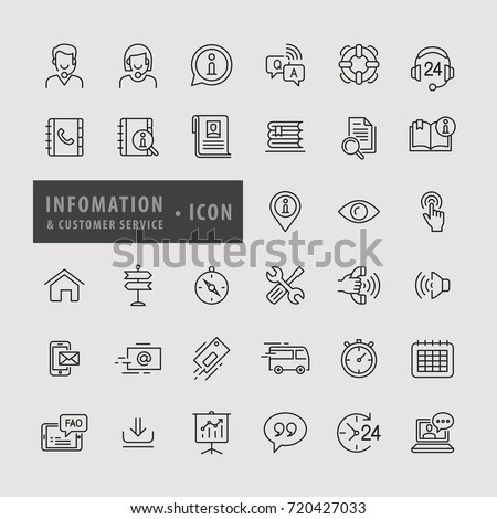 Information & Customer Service icon set, icons modern design style