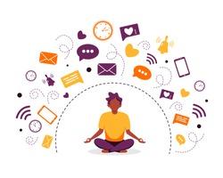 Information detox and meditation. Black man meditating in lotus pose. Digital detox concept. Vector illustration in flat style.