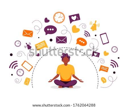 Information detox and meditation. Black man meditating in lotus pose. Digital detox concept. Vector illustration in flat style. Photo stock ©