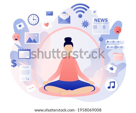 Information detox. Digital detox. Dome filter protects woman from unnecessary information. Information overload concept.  Meditation. Modern flat cartoon style. Vector illustration on white background