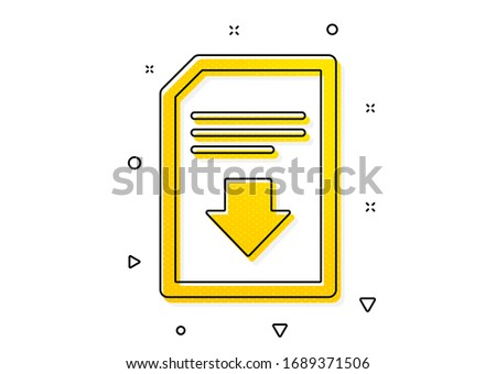 Information File sign. Download Document icon. Paper page concept symbol. Yellow circles pattern. Classic download file icon. Geometric elements. Vector