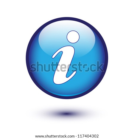 information icon on blue button