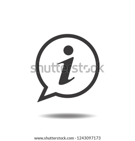 Information icon vector or info flat sign symbols logo with text or letter i and speech bubble illustration isolated on white background black color.Concepts object design for communication.