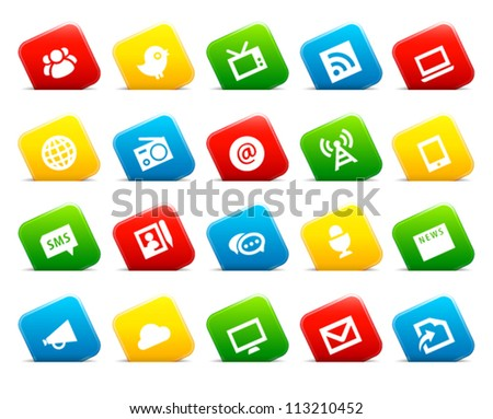 Information icons on colored cut square buttons. Image contains transparency - you can put it on every surface. 10 EPS