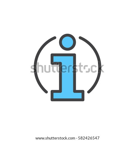 Information, info line icon, filled outline vector sign, linear colorful pictogram isolated on white. Symbol, logo illustration