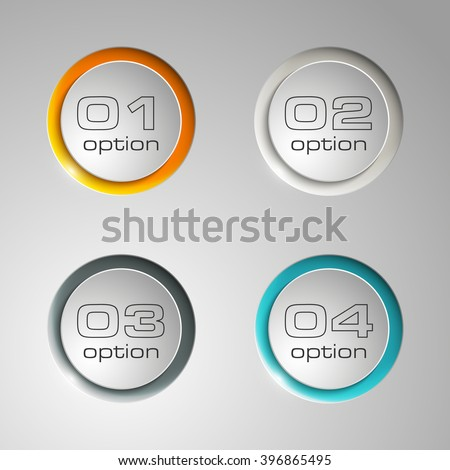 Information infographic statistic vector presentation. Graphic composition for your business presentations. Four glossy BUTTON for your annotations. Four color sticker for registration of proposals