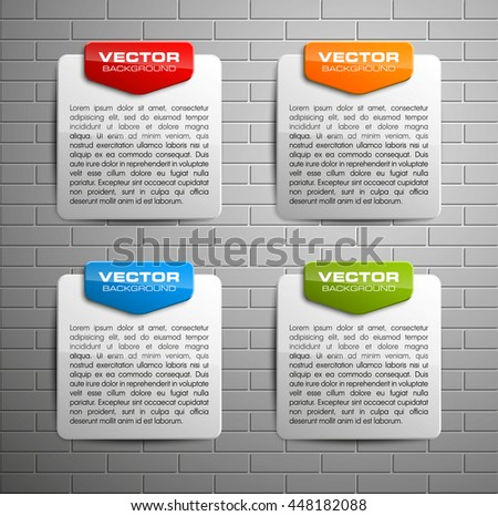 Information infographic statistic vector presentation. Graphic composition for your business presentations. Four glossy strip for your annotations. Four color sticker for registration of proposals