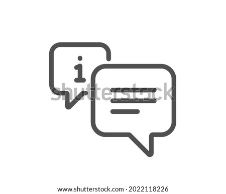 Information line icon. Info speech bubble sign. Help inform symbol. Quality design element. Linear style info icon. Editable stroke. Vector Photo stock ©