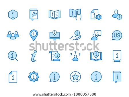 Information line icon set. Privacy policy, manual, rule, instruction, inform, guide, reference minimal vector illustration. Simple outline sign tutorial app ui. Blue color, Editable Stroke. ストックフォト ©