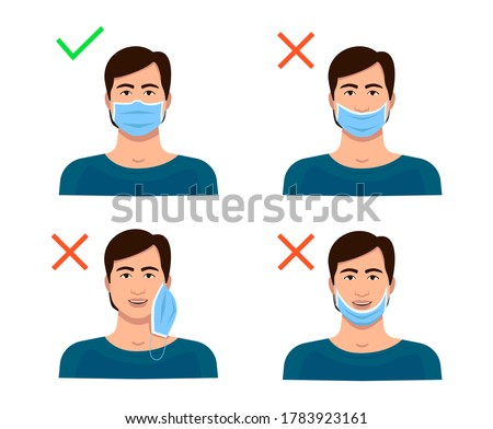 Information on how to wear the mask correctly. A man with a surgical mask on his face, under his nose, on his chin, on his ear is wrong. An erroneous position does not protect against coronavirus.