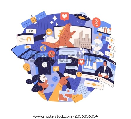 Information overload and excess concept. Surfing internet with lot of info chaos, flow of digital trash and online data flood in social media. Flat vector illustration isolated on white background
