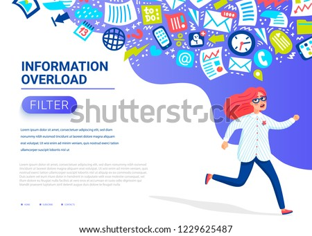 Information overload concept. Young women running away from information stream pursuing her. Concept of person overwhelmed by information, Input overloading. Colorful vector illustration in flat style