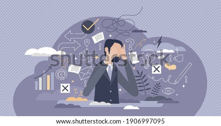 Information overload or job burnout with stress and chaos tiny person concept. Busy businessman with panic about many duties and tasks vector illustration. Ineffective multitasking with work anxiety. Сток-фото ©