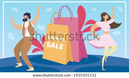 Information Poster Summer Sale Lettering Cartoon. Flyer Woman and Man are Having Fun and Enjoying Discounts in Mall and Stores. Purchase Essential Goods. Seasonal Discount On Clothes.