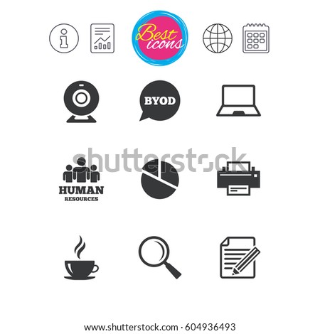 Information, report and calendar signs. Office, documents and business icons. Pie chart, byod and printer signs. Report, magnifier and web camera symbols. Classic simple flat web icons. Vector