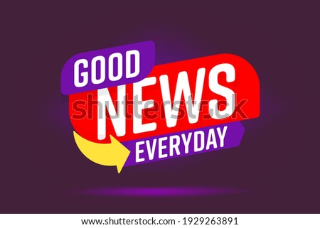 Information report, important daily media publication banner. Info label good news everyday headline lettering, arrow for newsletter or reportage advertisement vector illustration isolated on purple