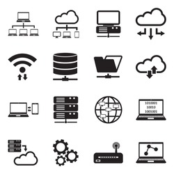 Information Science Icons. Black Flat Design. Vector Illustration.