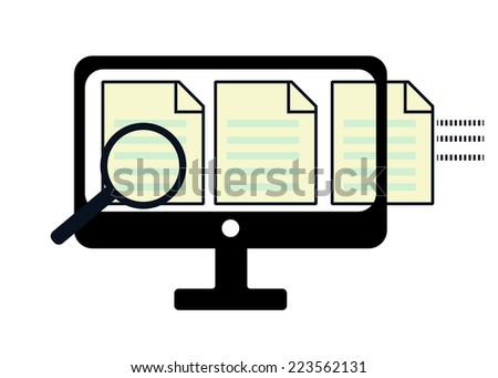 Information search concept, review data on screen display desktop