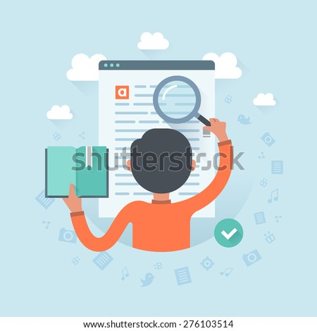 Information search. Man with magnifying glass looking for required information on a website page. User experience, communication and SEO concept