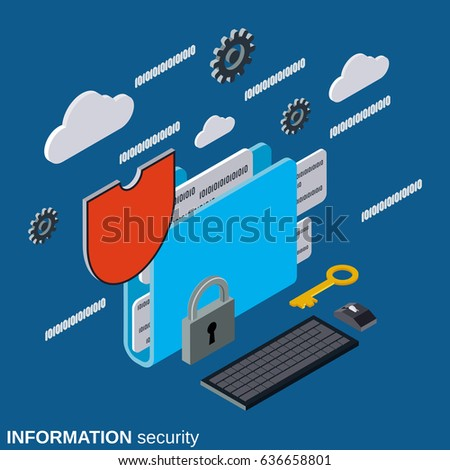 Information security, folder protection flat 3d isometric vector concept illustration