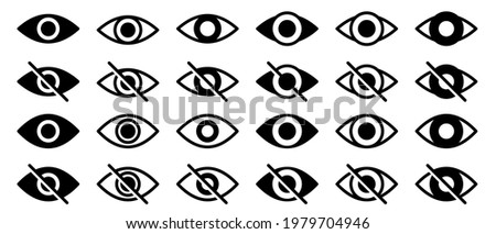 Information sign about delicate content. Conceptual symbols of internet security. Visible or hidden data entry. Broken and open eye icon. Vector elements Photo stock ©