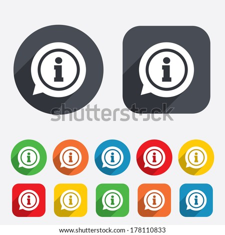 Information sign icon Info speech bubble symbol Circles and rounded squares 12 buttons Vector