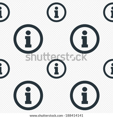 Information sign icon. Info symbol. Seamless grid lines texture. Cells repeating pattern. White texture background. Vector