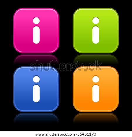 Colored smooth rounded shapes with reflection on black background. Information sign on web 2.0 internet buttons