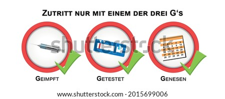 Information signs with the 3 G's of the Corona Protection Ordinance. German text: Access only with one of the three G's, vaccinated, tested, recovered. vector Stock photo ©