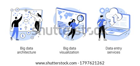 Information storage infrastructure abstract concept vector illustration set. Big data architecture, big data visualization, data entry services, business intelligence, outsource abstract metaphor.