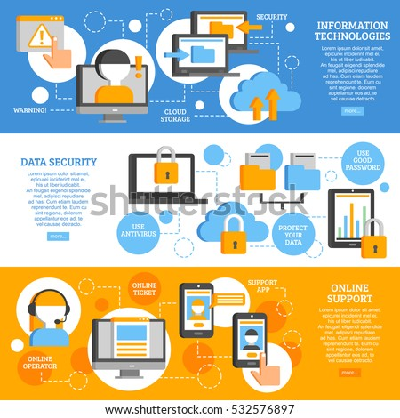 Information technologies flat horizontal banners with icons showing scheme of data protection and applications online support  vector illustration