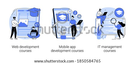Information technology career abstract concept vector illustration set. Web development courses, mobile app development and IT management classes, junior frontend, online coding abstract metaphor.