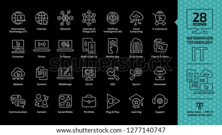 Information technology editable stroke outline icon set on a black background with IT network system, communication, computer software, files and folders, UX/UI, SEO, search, download thin line symbol