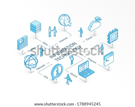 Information Technology isometric concept. Connected line 3d icons. Integrated infographic system. People teamwork. Device, IT, content cloud symbols. Program code, tech data, network, server pictogram