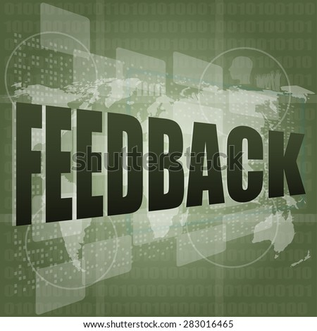 Information technology IT concept: words Feedback on digital screen, vector