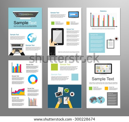 Information technology or business infographic elements. IT background. Business background. Mobile technology. Brochure template. Set of flyer design template.