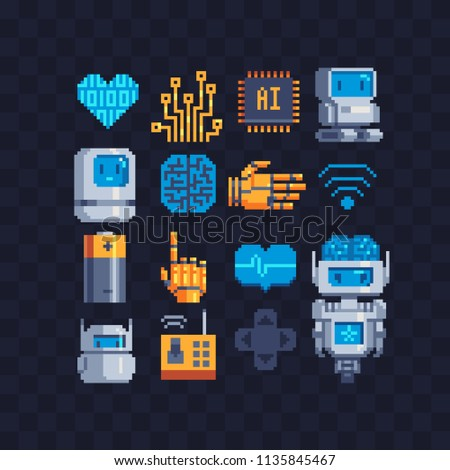 Information Technology pixel art icons set. Artificial intelligence, micro circuit and robot android. Chat bot.  Central processing unit. Isolated vector illustration. Design for stickers, logo, app.