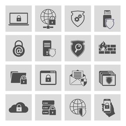 Information technology security pictograms collection of computer and online safety isolated vector illustration