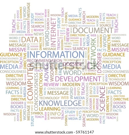 INFORMATION. Word collage on white background. Vector illustration.