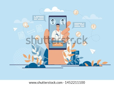 Informational Banner Call Doctor Application. Closeup Hand Holding Smartphone. On Screen Phone,  Doctor Will go to Help Patient. Professional Practitioner Clinic. Vector Illustration.