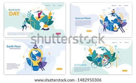 Informational Banner Set Written by Ecotourism. Flyer Inscription Save Our Planet, Earth Hour, World Earth Day. Family Rides Bicycle around Planet. Men and Women Take Care Planet Cartoon.